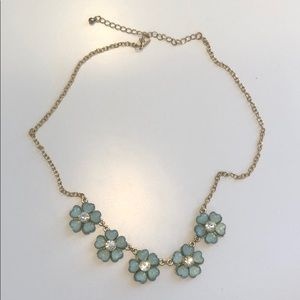 Jewelry - Blue Flower Stone and Gold Chain Necklace